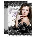 silver black purple lace photo sweet 16 invite