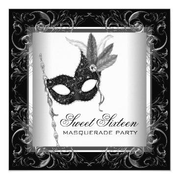Small Silver Black White Sweet 16 Masquerade Party Invitations Front View