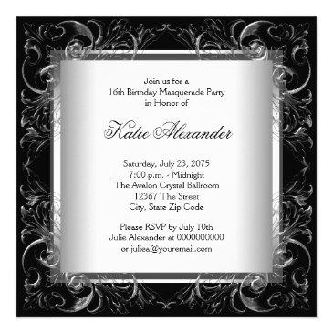 Small Silver Black White Sweet 16 Masquerade Party Invitations Back View