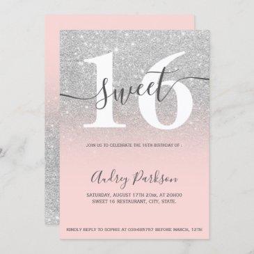 silver glitter blush coral ombre girly sweet 16 invitation