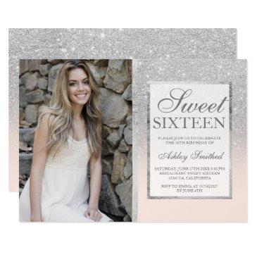 silver glitter blush ombre photo sweet 16 invitations
