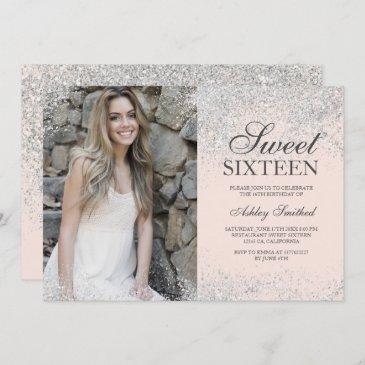 silver glitter chic blush pink photo sweet 16 invitation