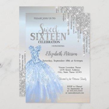 silver glitter drips,blue dress silver sweet 16 invitation
