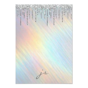 Small Silver Glitter Drips Rainbow Holographic Sweet 16 Invitation Back View