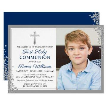 silver glitter navy blue 1st holy communion photo