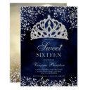silver glitter navy photo sparkles tiara sweet 16 invitation
