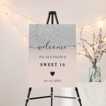 silver glitter ombre chic pink sweet 16 welcome foam board