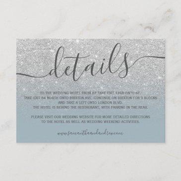 silver glitter ombre dusty blue script details enclosure invitations