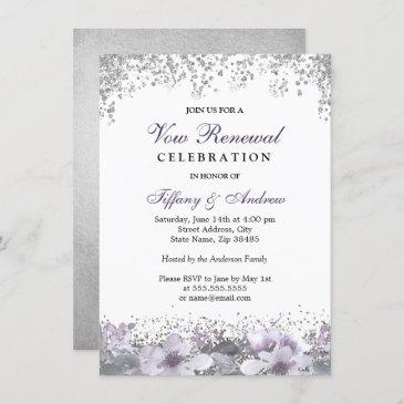 silver glitter purple floral vow renewal invite