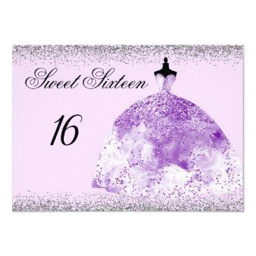 silver glitter purple gown sweet 16 invitation