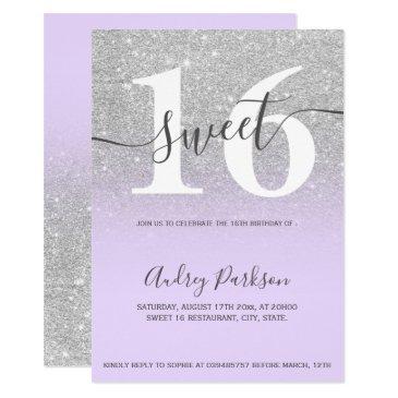 silver glitter purple lilac ombre girly sweet 16 invitation