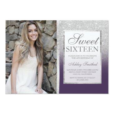 Small Silver Glitter Purple Ombre Photo Sweet 16 Invitations Front View
