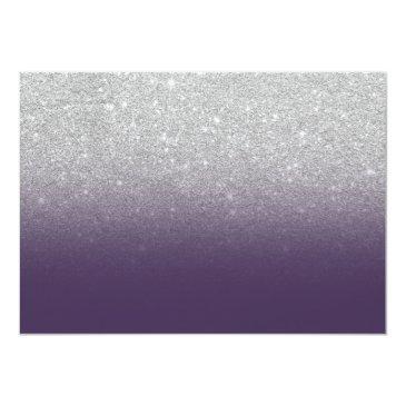 Small Silver Glitter Purple Ombre Photo Sweet 16 Invitations Back View