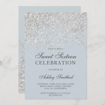 silver glitter sparkles blue chic sweet sixteen invitation