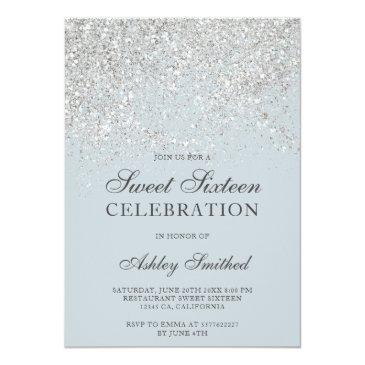 Small Silver Glitter Sparkles Blue Chic Sweet Sixteen Invitation Front View