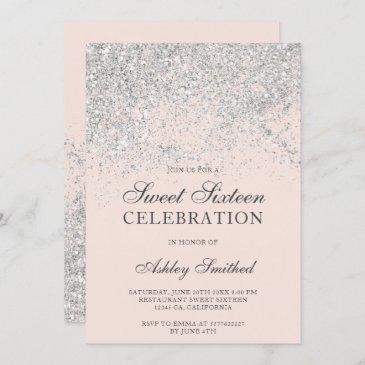 silver glitter sparkles blush chic sweet sixteen invitation