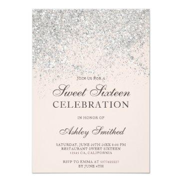 Small Silver Glitter Sparkles Blush Chic Sweet Sixteen Invitation Front View
