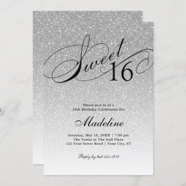 silver glitter sweet 16 fancy script invitation