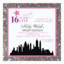 silver glitter sweet 16 & the city invitation
