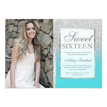 Small Silver Glitter Teal Ombre Photo Sweet 16 Invitations Front View