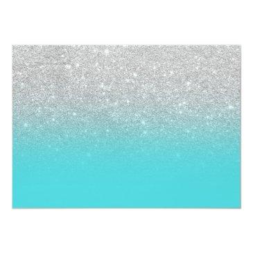 Small Silver Glitter Teal Ombre Photo Sweet 16 Invitations Back View