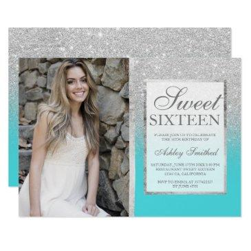 silver glitter teal ombre photo sweet 16