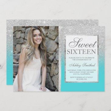 silver glitter teal ombre photo sweet 16 invitation