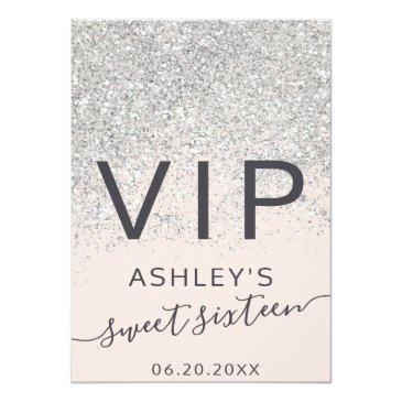 Small Silver Glitter Typography Blush Sweet 16 Vip Badge Front View
