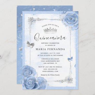 silver light baby blue roses elegant quinceanera invitation