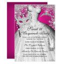 silver pink princess masquerade sweet 16 invite