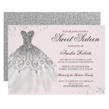 silver pink sparkle dress sweet sixteen invitation
