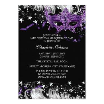 Small Silver Purple Mask Star Night Masquerade Sweet 16 Invitations Back View