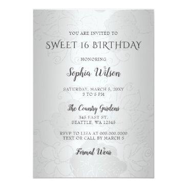 Small Silver Purple Sparkle Dress Sweet 16 Birthday Invitation Back View