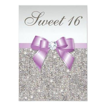 Small Silver Sequins Lilac Faux Bow Sweet 16 Invitations Front View