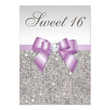 silver sequins lilac faux bow sweet 16 invitation