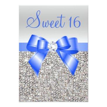 Small Silver Sequins Royal Blue Bow Sweet 16 Invitations Front View