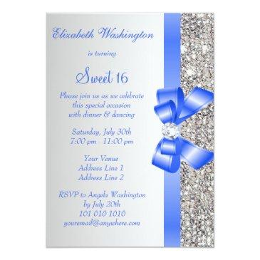 Small Silver Sequins Royal Blue Bow Sweet 16 Invitations Back View