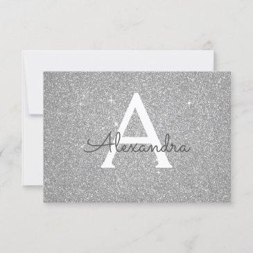 silver sparkle glitter sweet 16 save the date