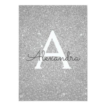 Small Silver Sparkle Glitter Sweet Sixteen Birthday Invitation Front View