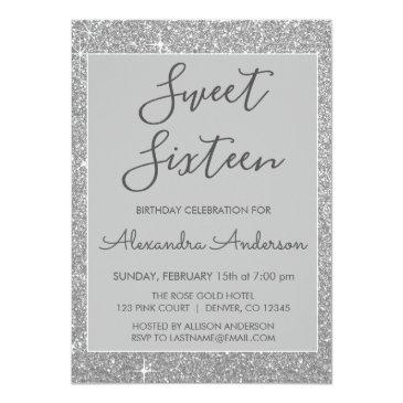 Small Silver Sparkle Glitter Sweet Sixteen Birthday Invitation Back View