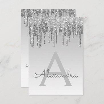 silver sparkle glitter sweet sixteen birthday invitation