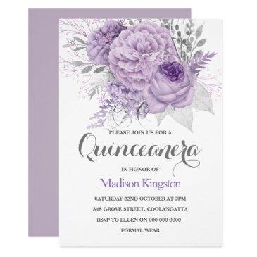 silver sparkle lavender quinceanera party invite