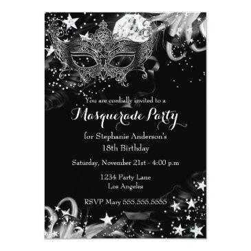Small Silver Sparkle Magical Night Masquerade Invitation Front View