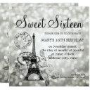 silver sweet sixteen romantic paris glam invitation