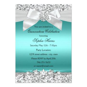 Small Silver Teal Glitter & Jewel Bow Quinceanera Invitations Front View