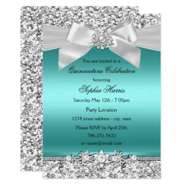 silver teal glitter & jewel bow quinceanera invitation
