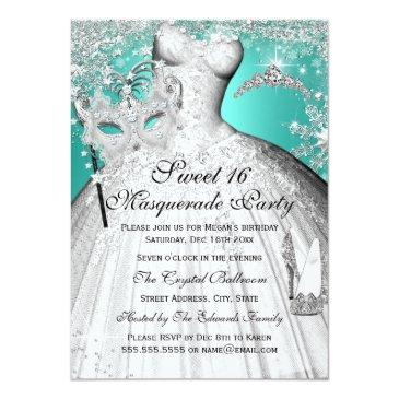 Small Silver Teal Princess Masquerade Sweet 16 Invite Front View