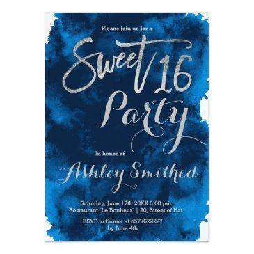 Small Silver Typography Navy Blue Watercolor Sweet 16 Invitations Front View