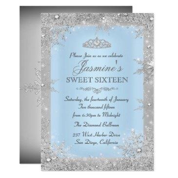 silver winter wonderland blue sweet 16 invitations