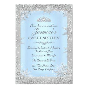 Small Silver Winter Wonderland Blue Sweet 16 Front View